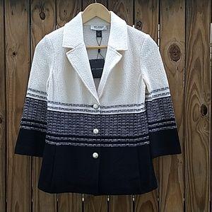 St. John black and white wool blazer 0 BNWT